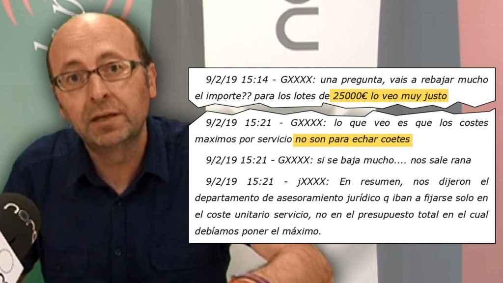 Francis Puig, junto a los mensajes de whatsapp que confirman el pacto de precios. EE