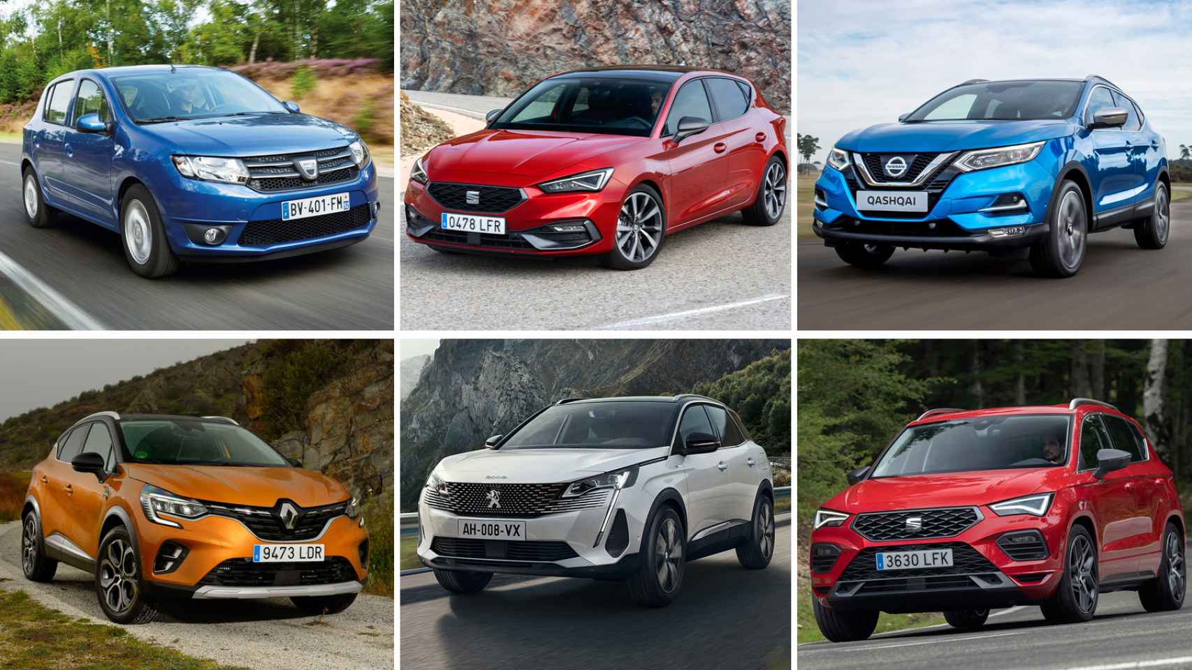 Algunos de los coches más vendidos en España en 2020.