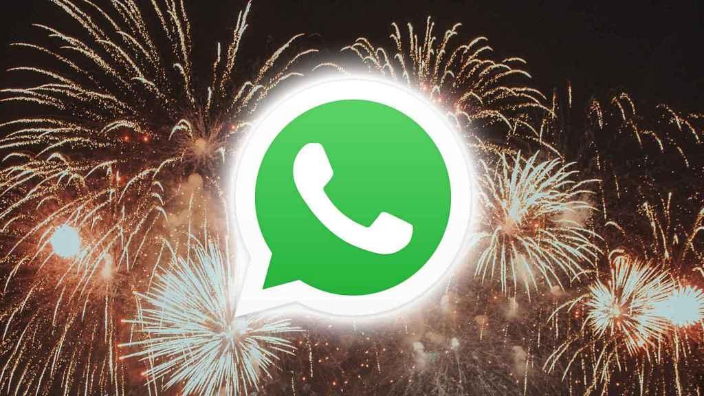 Fuegos artificiales tras el logo de WhatsApp.