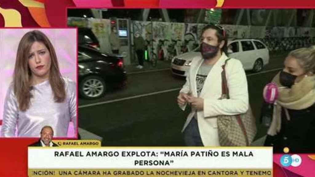 Nuria Marín durante la llamada de Rafael Amargo.