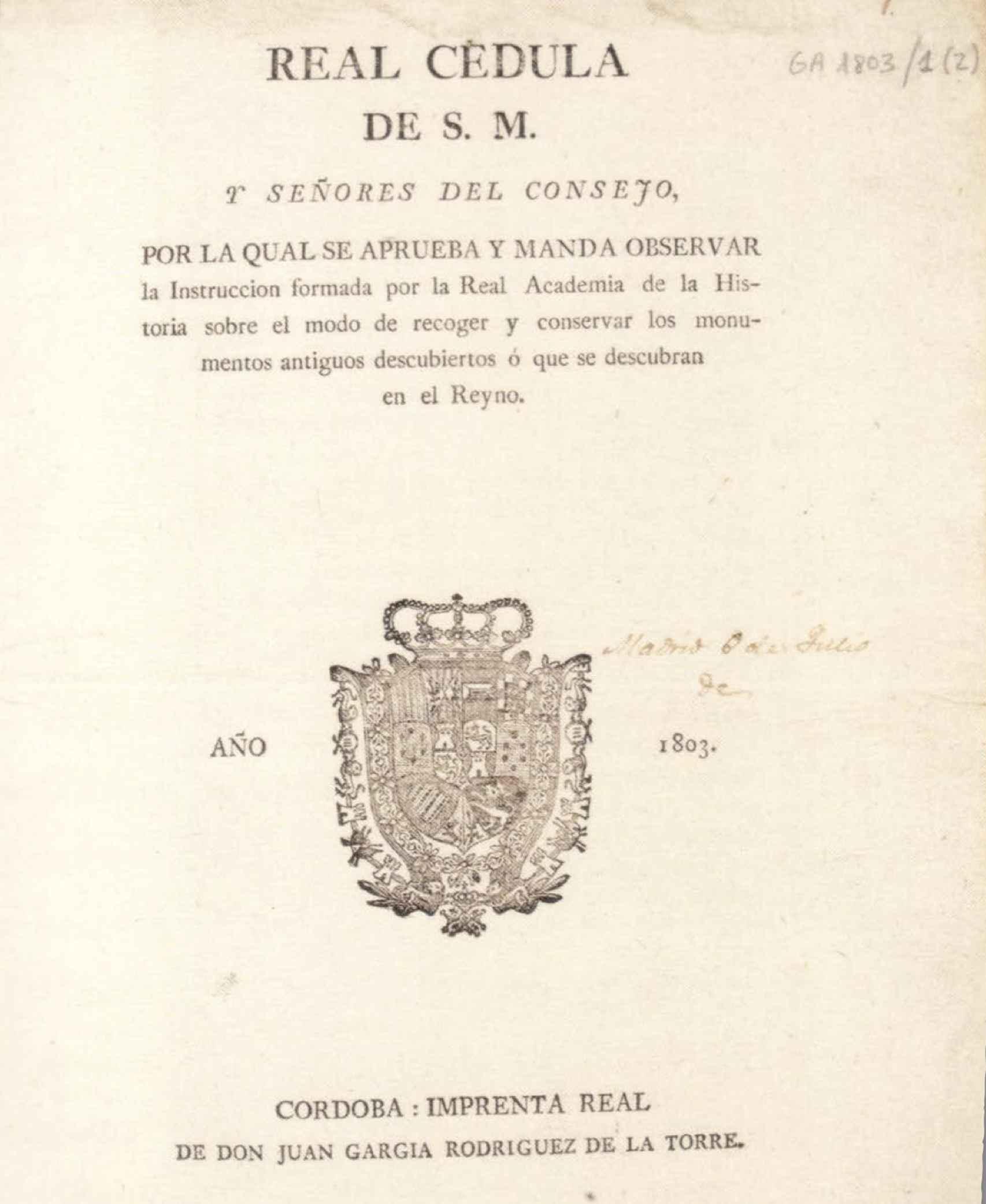 Real Cédula de 1803.