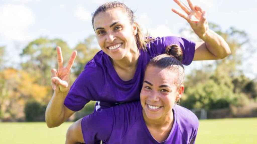 Marta Vieira y Toni Deion, en un entrenamiento del Orlando Pride