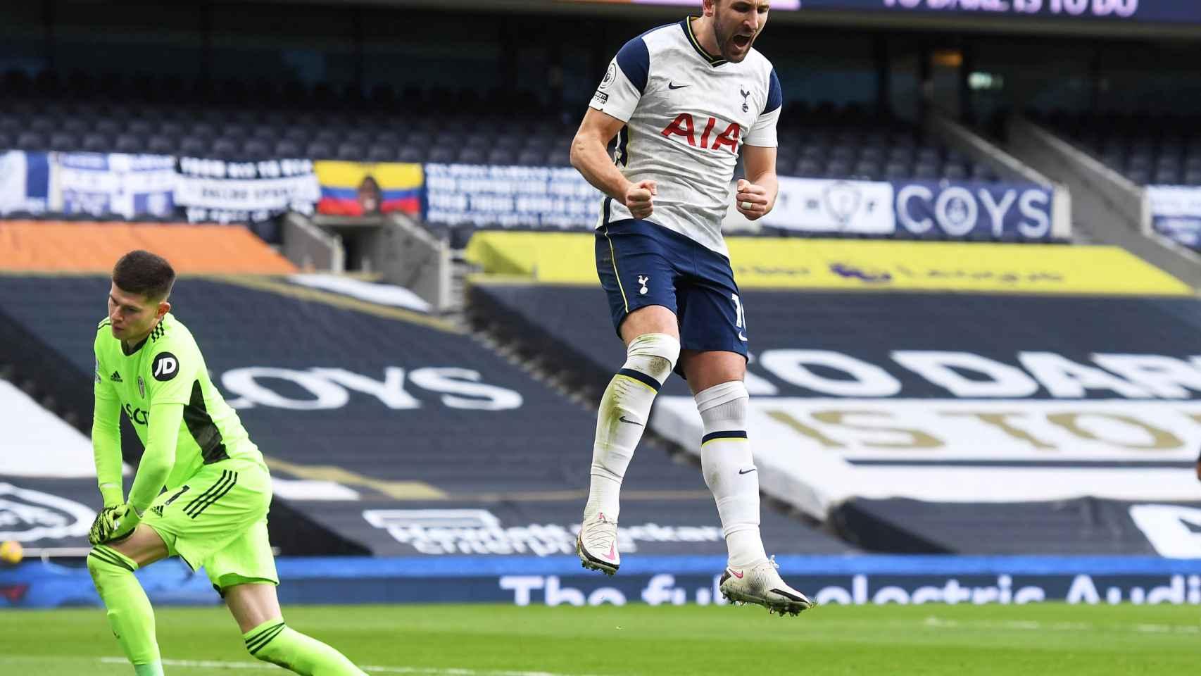 Harry Kane, celebrando un gol con el Tottenham