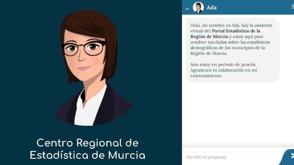 Ada, el 'chatbot' que resuelve dudas estadísticas en Murcia.