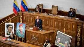 El presidente de la Asamblea Nacional de Venezuela, Jorge Rodríguez, este martes en Caracas