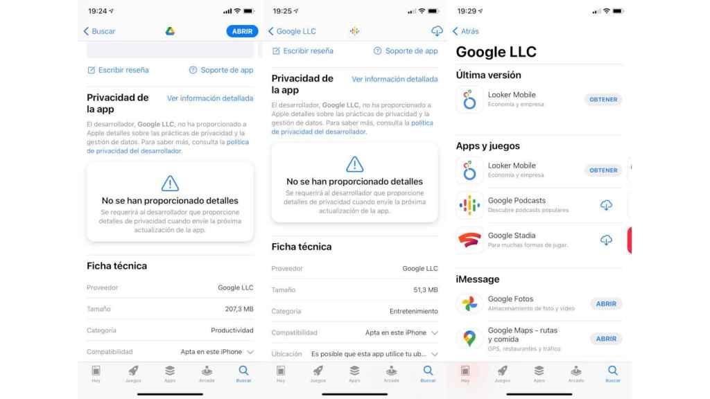 Las apps de Google aún no muestran información de privacidad