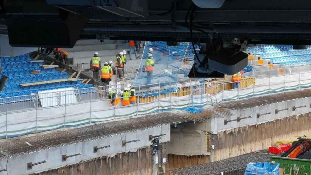Las obras en el interior del Santiago Bernabéu a comienzos del mes de enero. Foto: www.nuevoestadiobernabeu.com