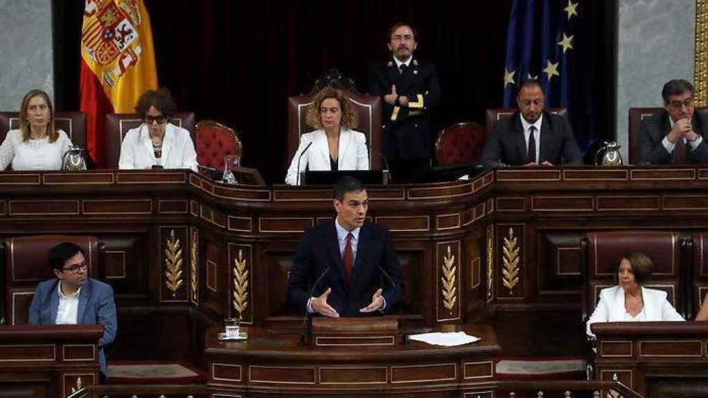 Pedro Sánchez en la tribuna de oradores del Congreso de los Diputados.