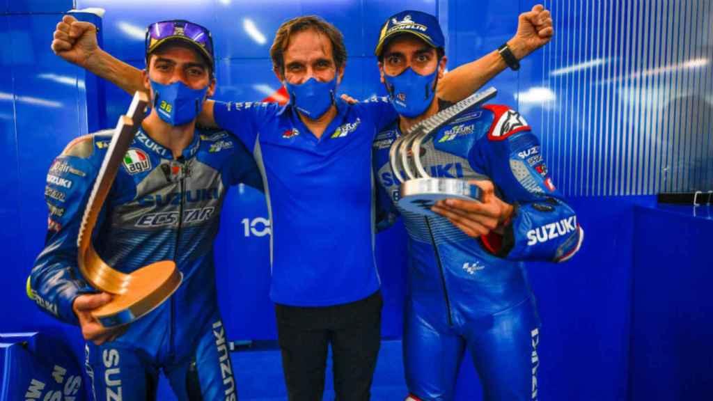 Davide Brivio, junto a Joan Mir y Alex Rins en Suzuki