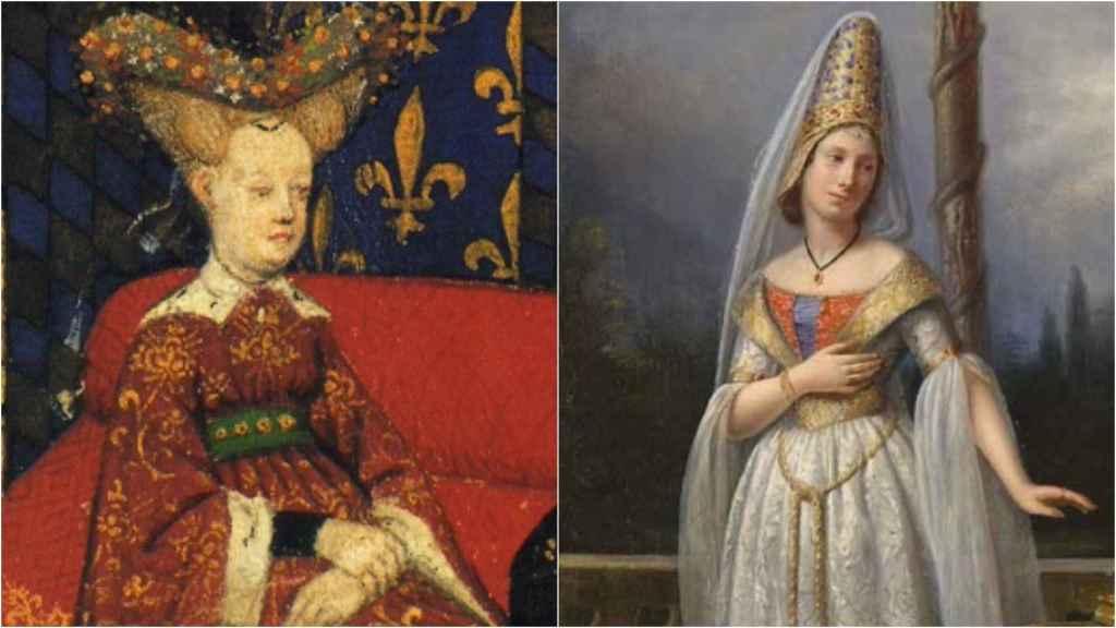 Isabel de Baviera, esposa de Carlos VI, y Odette de Champdivers, amante de Carlos VI.
