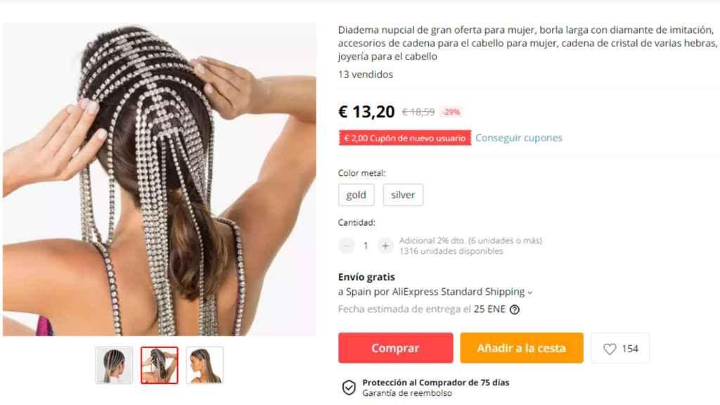 Una de las imitaciones del tocado que lució Cristina Pedroche, a la venta en AliExpress.