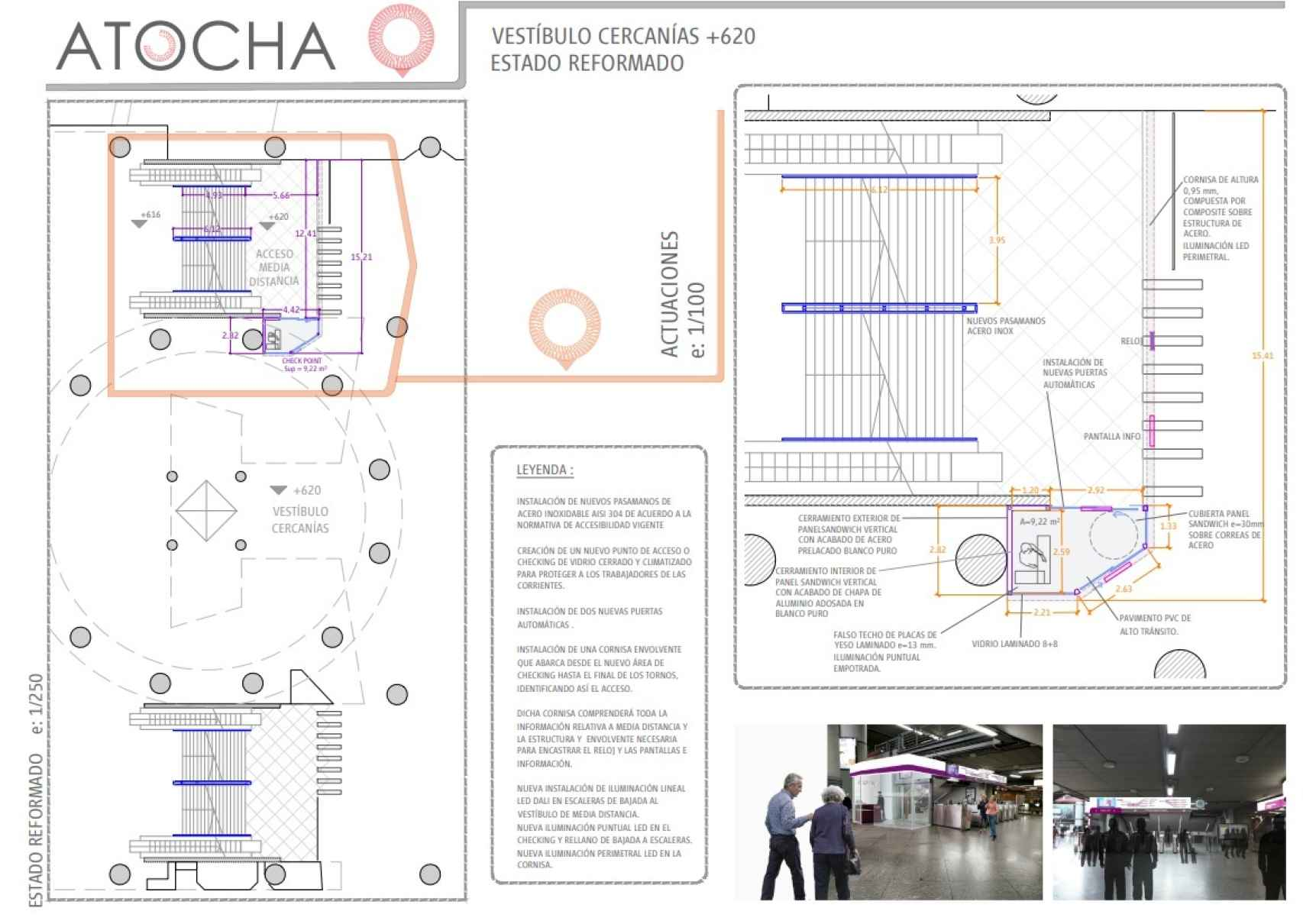 Plano del vestíbulo de Cercanías una vez acometida la reforma. Fuente: Renfe.