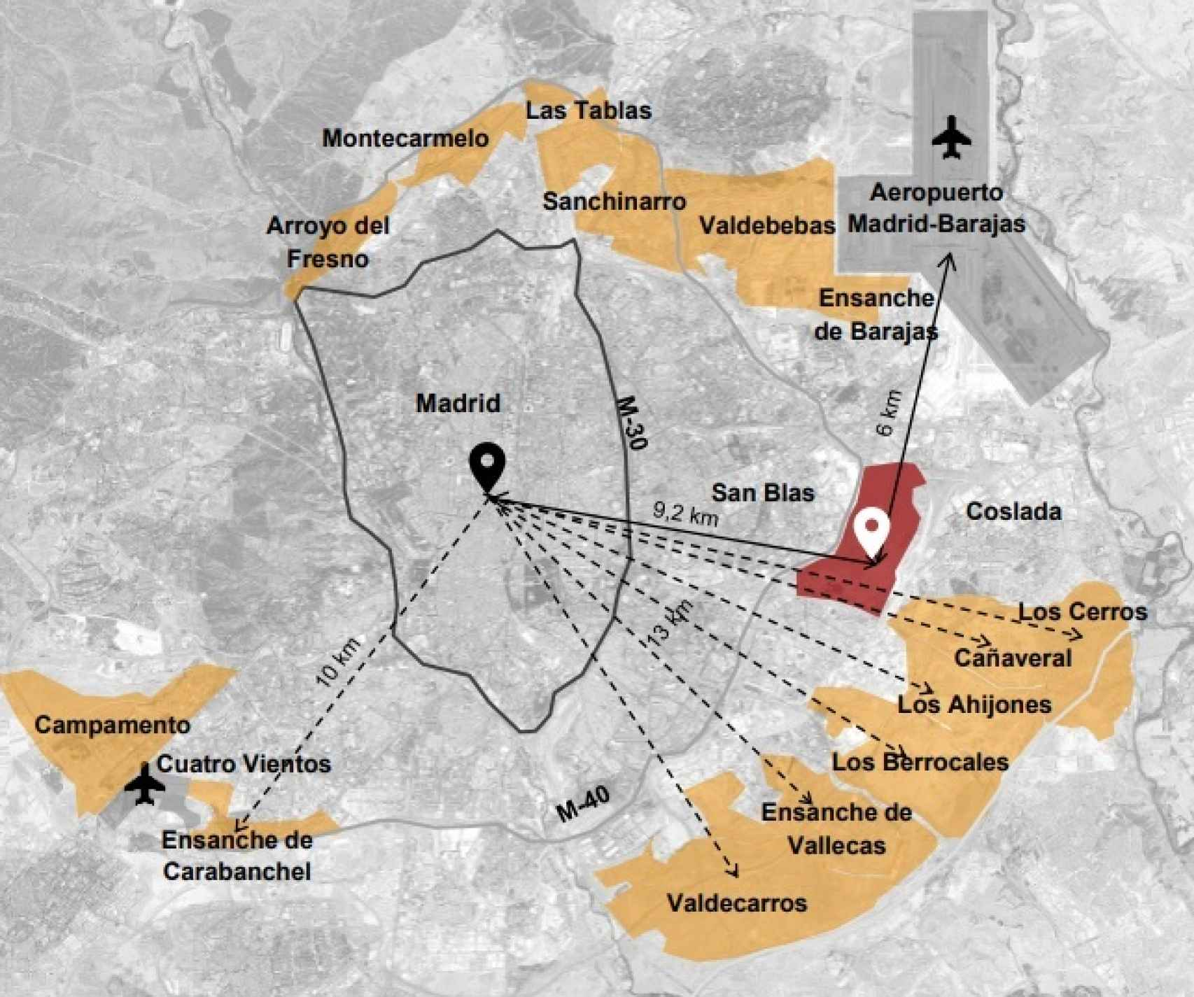 En rojo, la ubicación de Nueva Centralidad del Este.