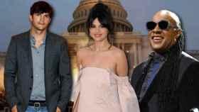 Asthon Kutcher, Selena Gómez y Stevie Wonder en un montaje de JALEOS.
