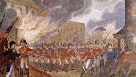 Grabado sobre el incendio de Washington en 1814.