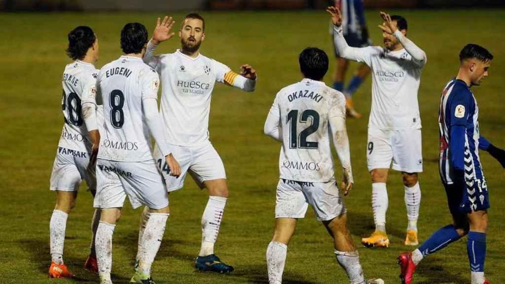 El Huesca celebra su gol