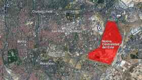 Ubicación del sector Nueva Centralidad del Este en Madrid.