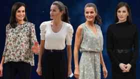 Letizia, con varios de los 'looks' que estrenó en 2020, en un fotomontaje de JALEOS.
