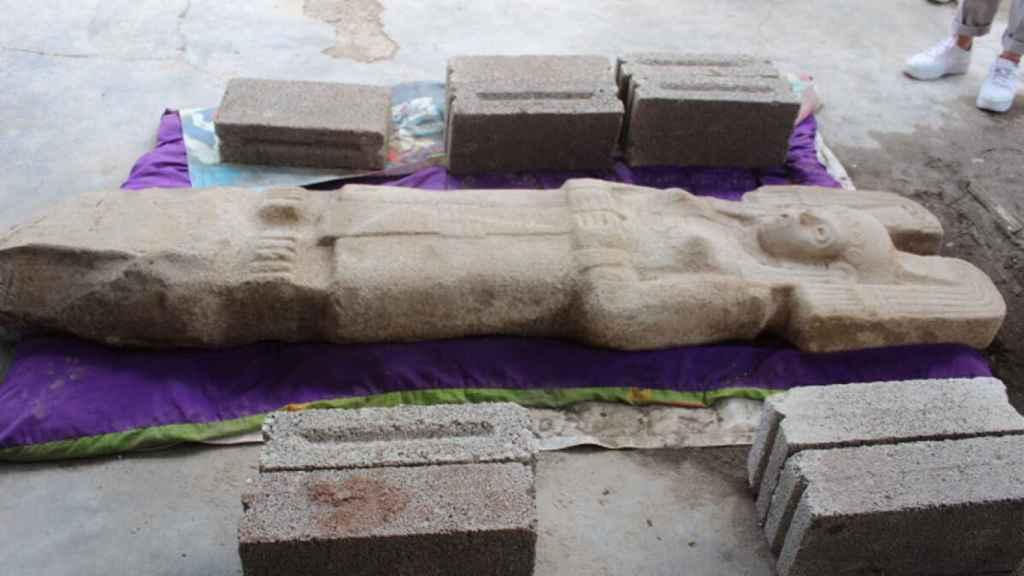 La escultura femenina hallada en Veracruz.