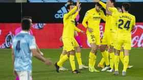 Los jugadores del Villarreal celebran uno de los goles del partido ante el Celta