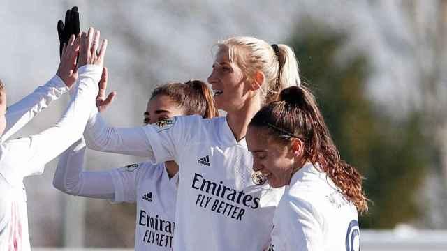 Sofia Jakobsson celebra un gol con el Real Madrid Femenino