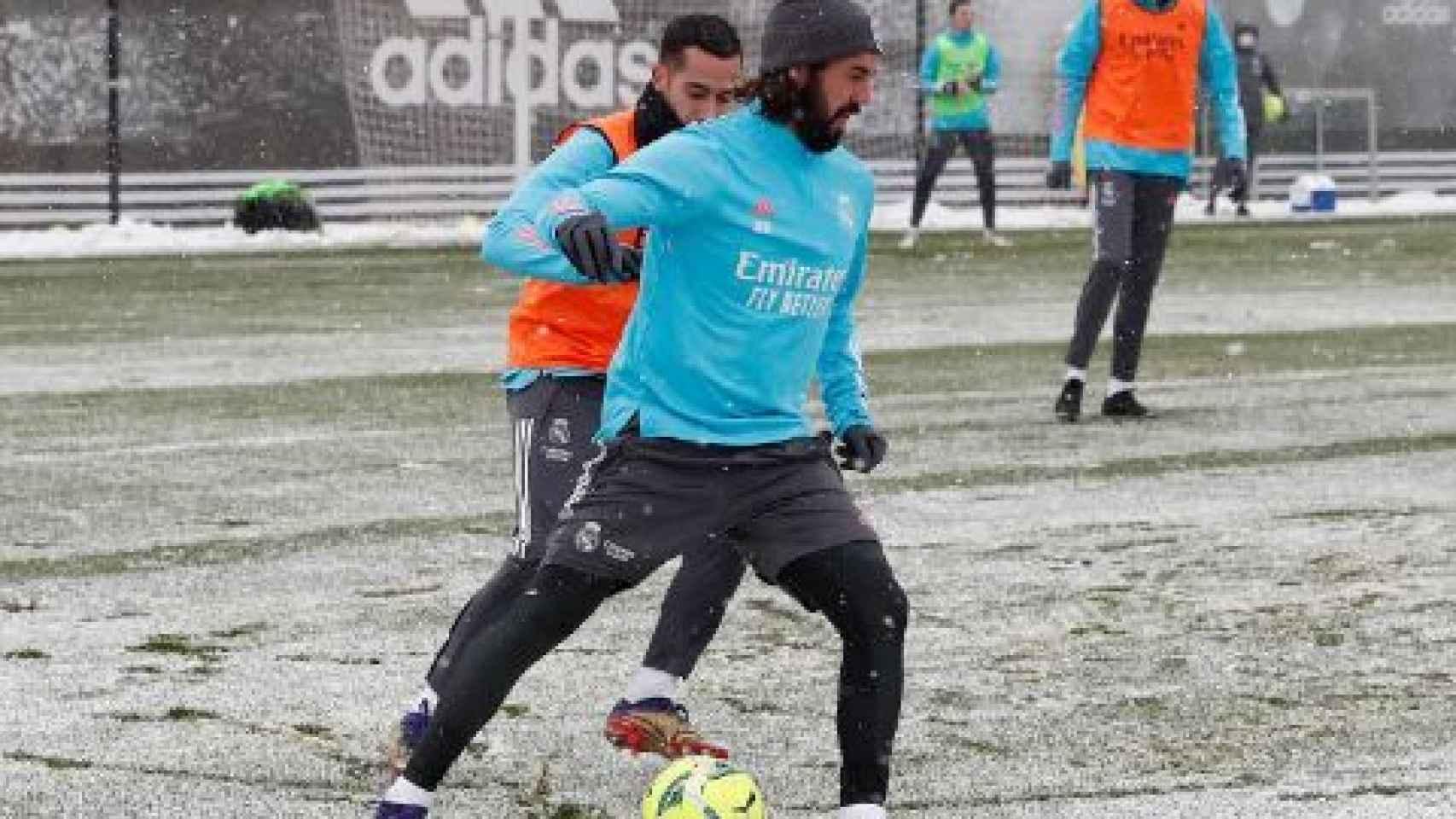 Isco Alarcón y Lucas Vázquez, durante un entrenamiento del Real Madrid