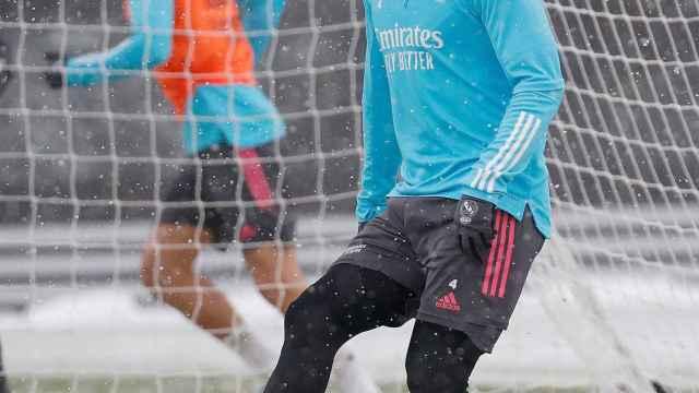 Sergio Ramos, durante un entrenamiento del Real Madrid