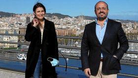 El presidente del PP catalán, Alejandro Fernández, y la exportavoz de Cs, Lorena Roldán.