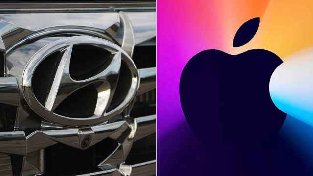 Emblemas de Apple y Hyundai.