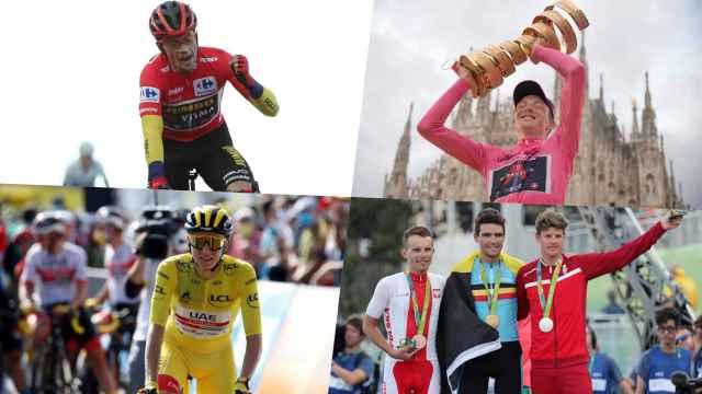 Primoz Roglic, Tao Geoghegan Hart, Tadej Pogacar y el podio de la prueba de ciclismo en ruta de los Juegos Olímpicos de Rio de Janeiro 2016