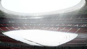 El Wanda Metropolitano cubierto de nieve