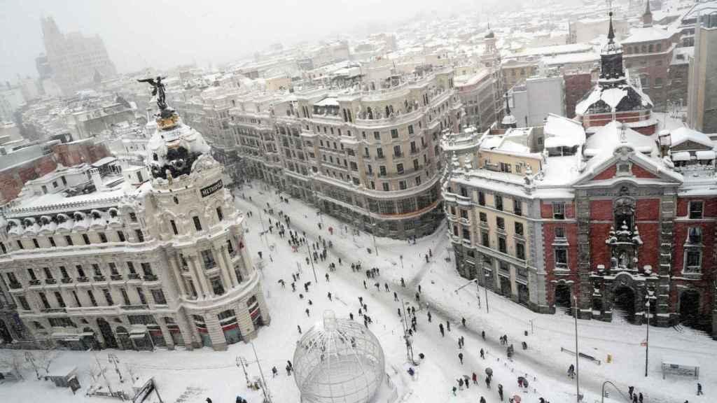 Una vista de la Gran Vía de Madrid este sábado.
