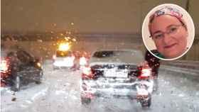 La auxiliar de enfermería Laura Dones y el interior de su vehículo, atrapado por la nieve durante esta madrugada.