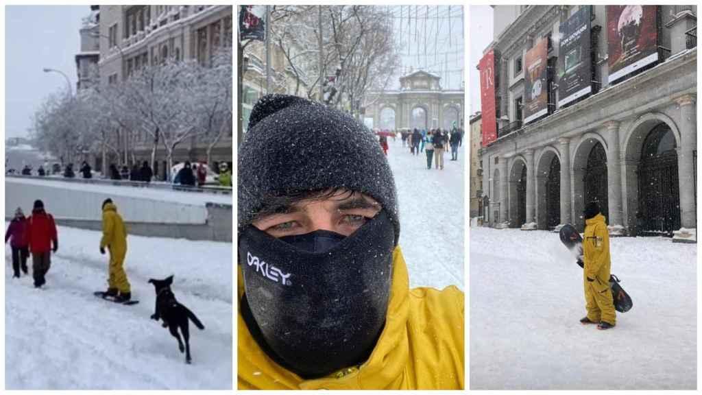Imágenes compartidas por Jairo Alonso, novio de Díaz Ayuso, practicando 'snowboard' por Madrid.