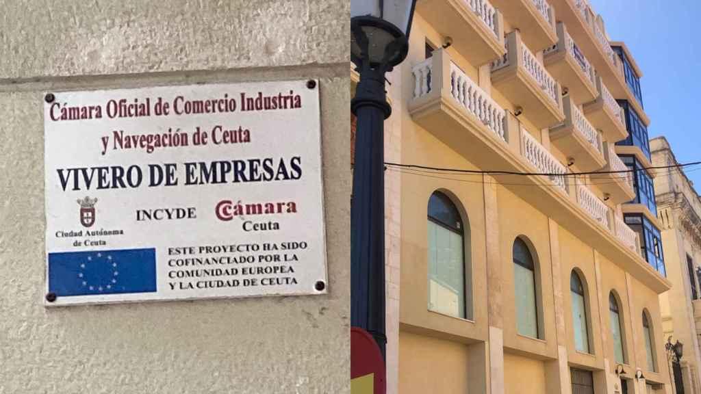 Un cartel de la Cámara de Comercio, Industria y Navegación de Ceuta y un edifico de la ciudad.