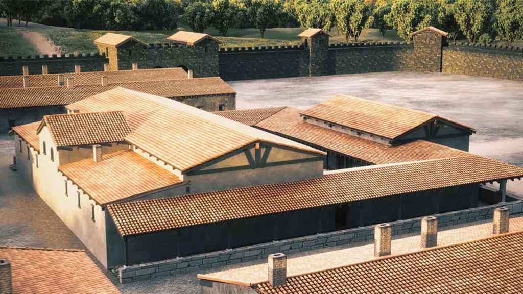 Reconstrucción del campamento romano.