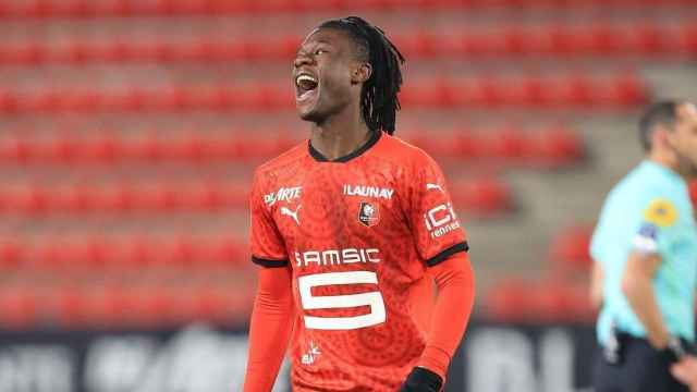 Eduardo Camavinga, durante un partido con el Rennes