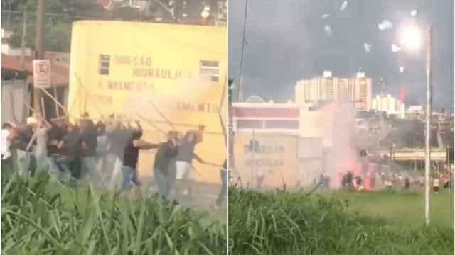 Brutal pelea entre hinchas de Santos y Sao Paulo