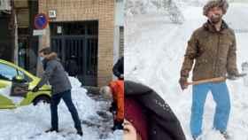 A la izquierda, Pablo Casado retirando nieve con una pala. A la derecha, Santiago Abascal en una imagen de Instagram.