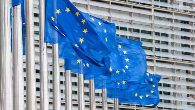 Imagen de la bandera europea en Bruselas.