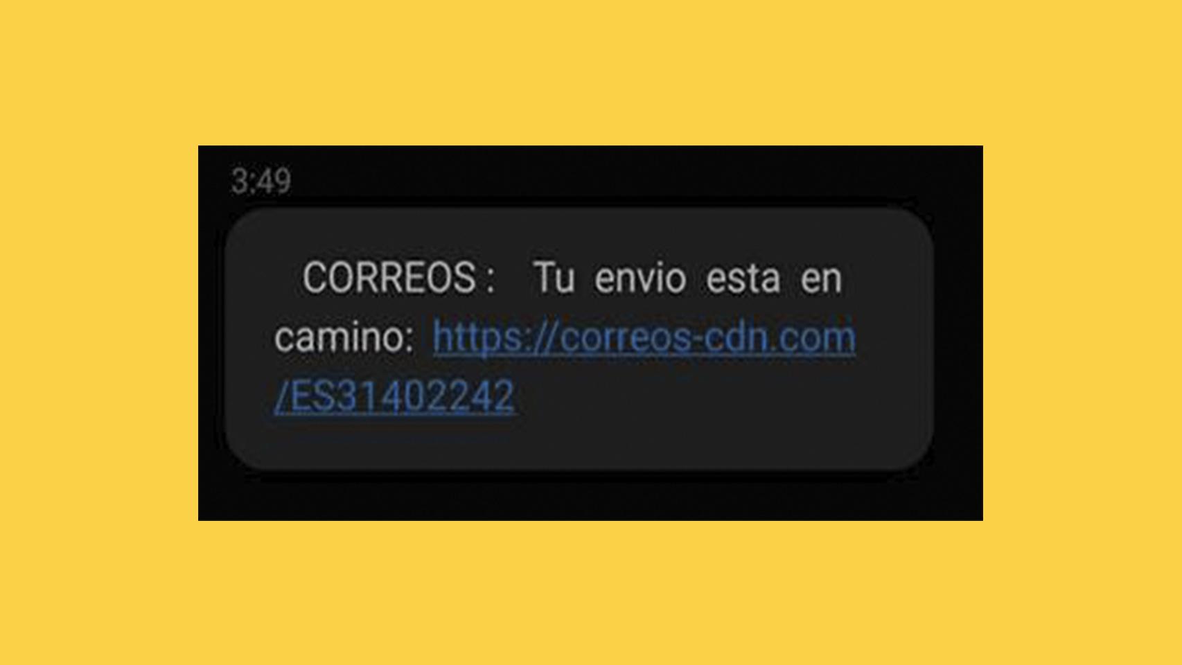 SMS falso de Correos.