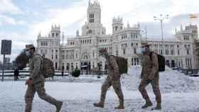 Militares en Madrid, una de las zonas donde más se ha cebado Filomena