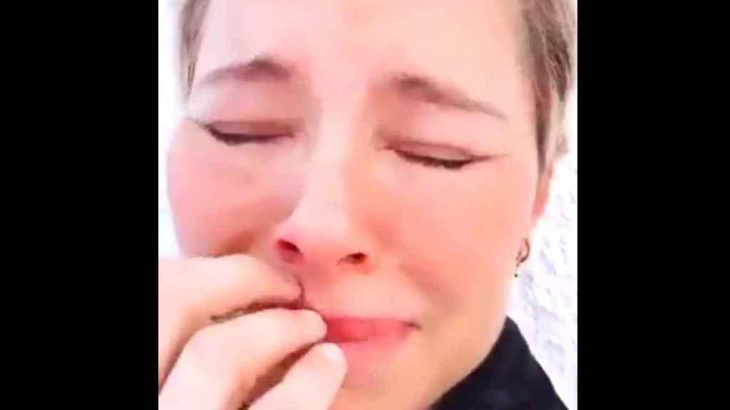 Captura del vídeo de Soraya llorando que se ha hecho viral.
