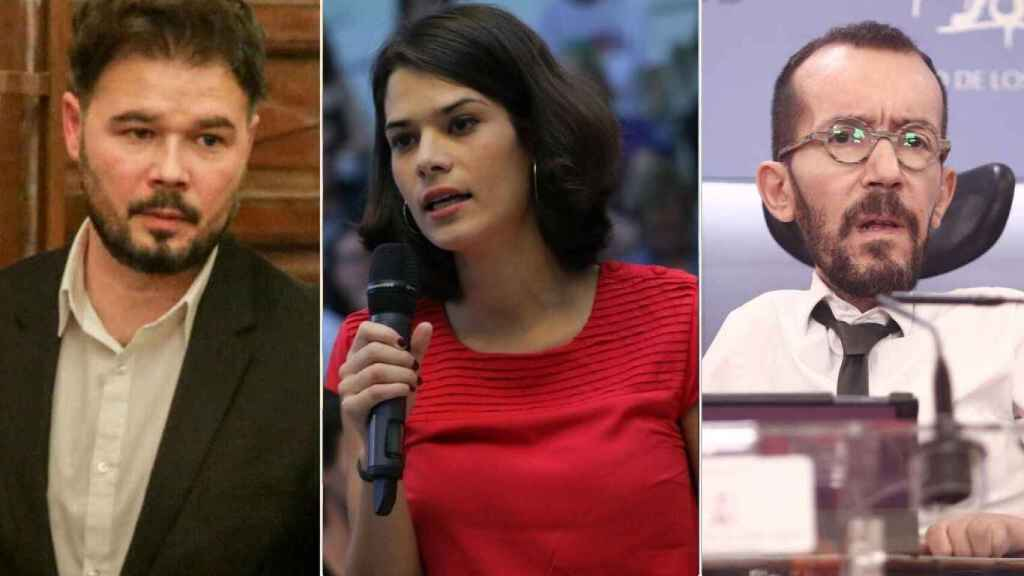 Gabriel Rufián, Isa Serra y Echenique en un fotomontaje.