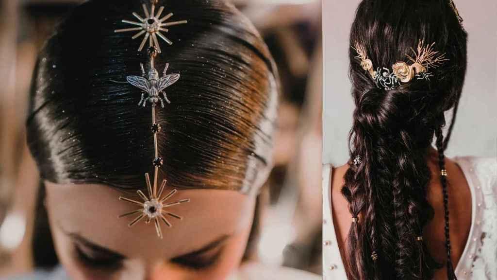 El cabello adquiere texturas artesanales con los trenzados combinados con objetos.