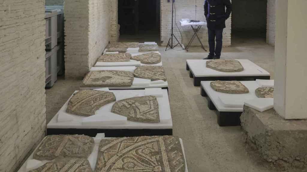 El almacén en el que se encuentra el redescubierto mosaico del rapto de Europa.