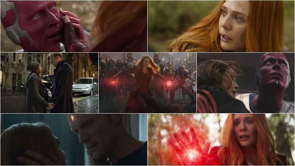 Bruja Escarlata y Visión en el universo cinematográfico de Marvel.