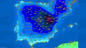 Las mínimas registradas en la madrugada del 12 de enero. Meteociel.fr.