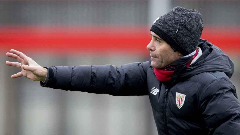 Marcelino García Toral en un entrenamiento con el Athletic
