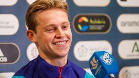 Frenkie de Jong, en rueda de prensa de la Supercopa de España
